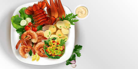 Lobster and shrimps with vegetables on a white plate.