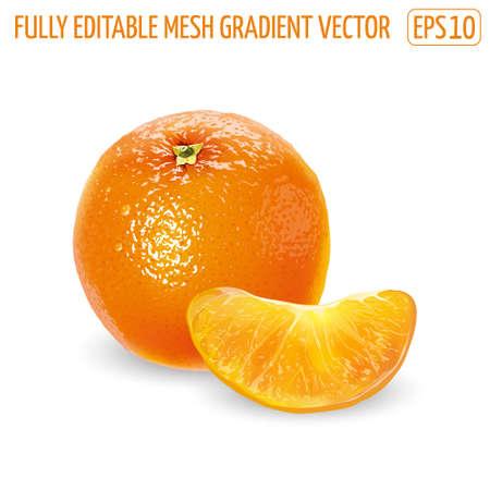 Whole orange with peeled slice on a white background.