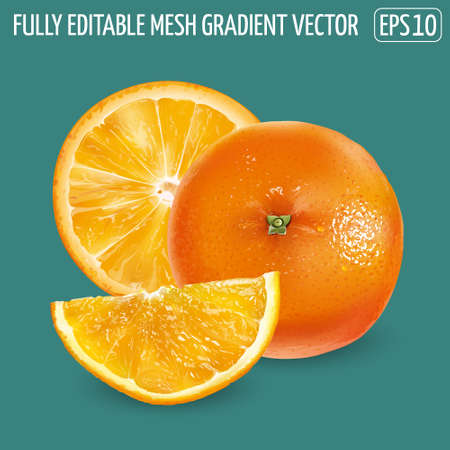 Whole orange and orange slices on a green background. Illustration