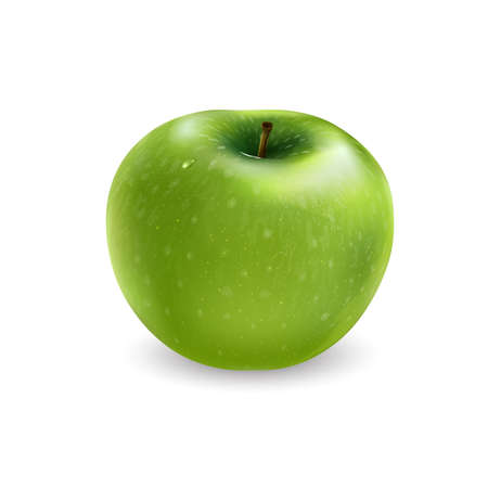 Fresh green apple on a white background.