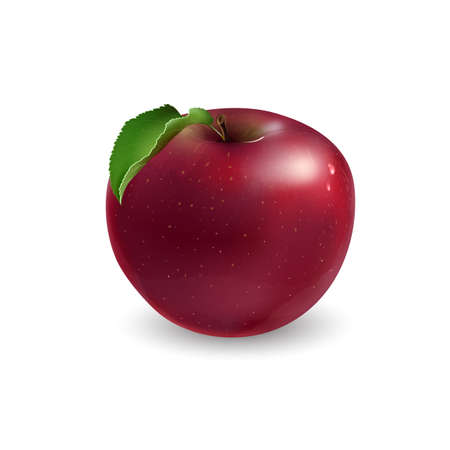 Red apple with a leaf on white background.