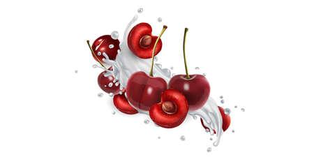 Cherries in splashes of milk or yogurt. Banque d'images