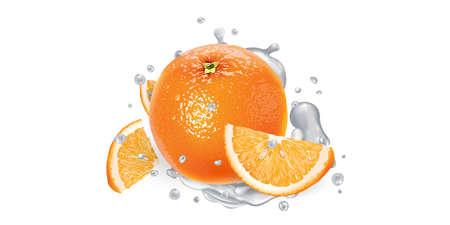Orange with slices in splashes of yogurt.