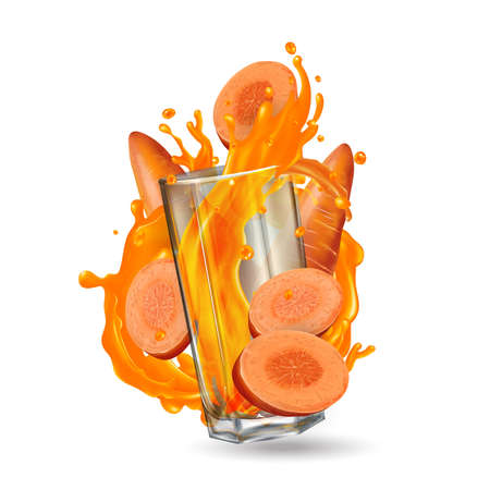 Carrots and a glass with a splash of vegetable juice. Banque d'images
