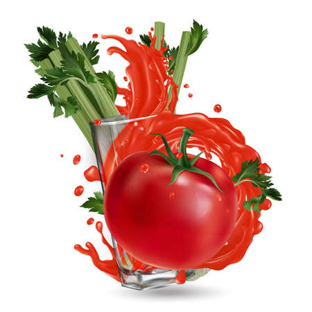 Tomato, celery and a glass with a splash of vegetable juice. Banque d'images