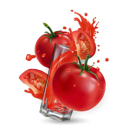 Tomatoes and a glass with a splash of red juice. Banque d'images