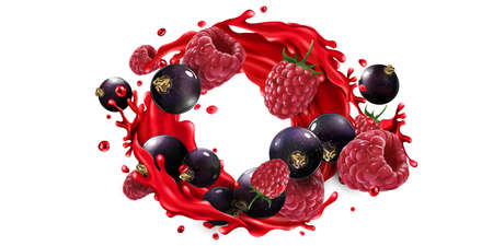 Black currants, raspberries and fruit juice splash.