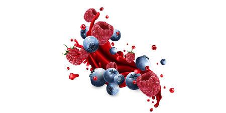 Splash of fruit juice and fresh blueberries and raspberries.