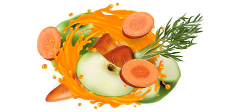 Carrots and green apples in a vegetable juice splash.