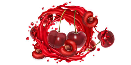 Whole and sliced cherries in a juice splash circle.