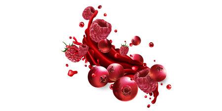 Splash of fruit juice with fresh cranberries and raspberries.