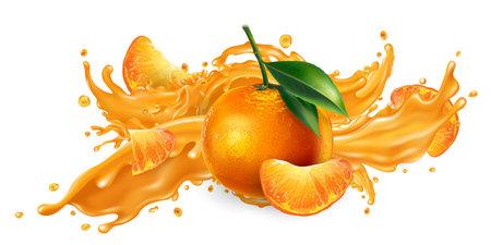 Splash of fruit juice and fresh mandarins. Banque d'images