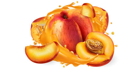 Whole and sliced peaches in a juice splash.