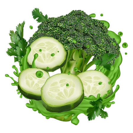 Green juice splash with broccoli and cucumber slices