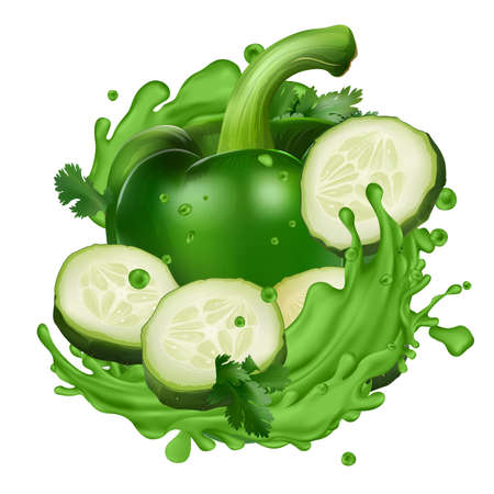 Green pepper and cucumber slices in splashes of vegetable juice