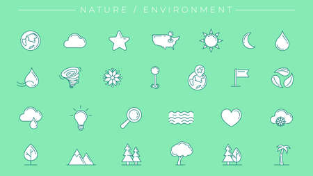 Nature and Environment concept line style vector icons set Illustration