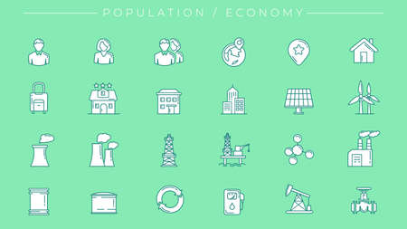Population and Economy concept line style vector icons set