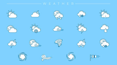 Weather concept line style vector icons set Illustration