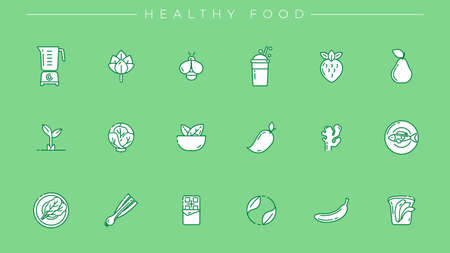 Healthy Food concept line style vector icons set Illustration