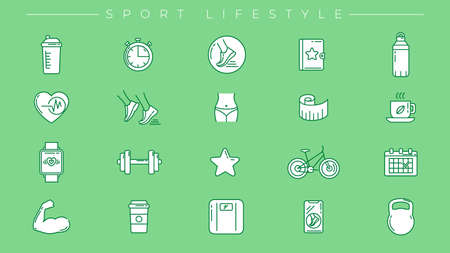 Sport Lifestyle concept line style vector icons set