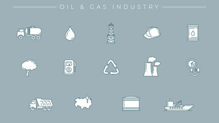 Oil and Gas Industry concept line style vector icons set