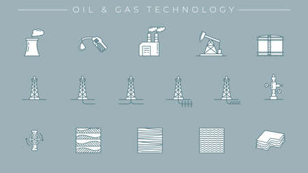 Oil and Gas Technology concept line style vector icons set Vector Illustration