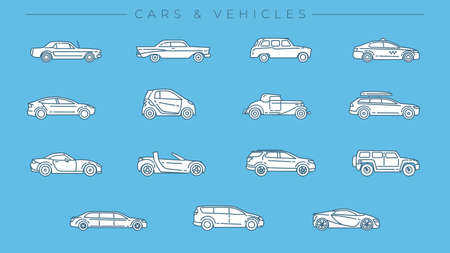 Cars and Vehicles concept line style vector icons set.