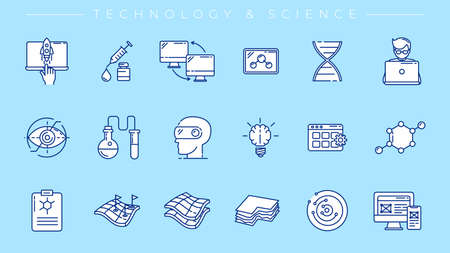 Technology and Science concept line style vector icons set.