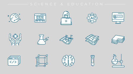Science and Education concept line style vector icons set.