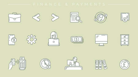 Finance and Payments concept line style vector icons set.