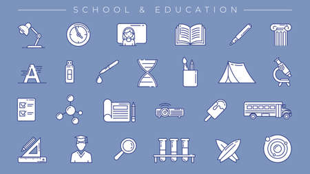 School and Education concept line style vector icons set.