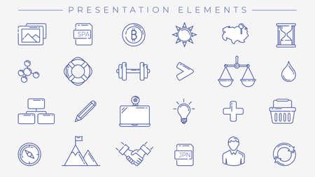 Presentation Elements concept line style vector icons set. Illustration