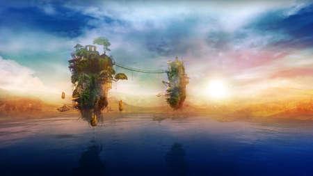 Fantastic flying islands over the lake at sunrise, 3D render.