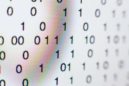 Binary code on a computer screen Standard-Bild