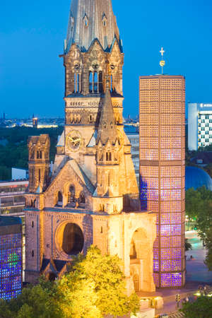 Kaiser Wilhelm Memorial Church at dusk