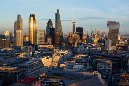 Financial district of London at sunset, England