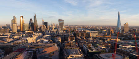 Panoramic elevated view of the financial district of London