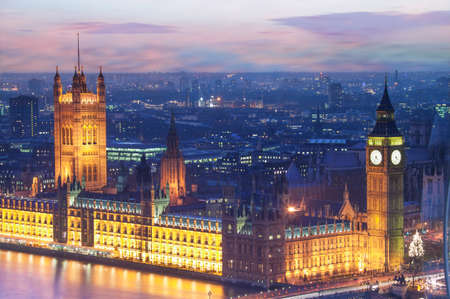 The Houses of Parliament at dusk, London, England