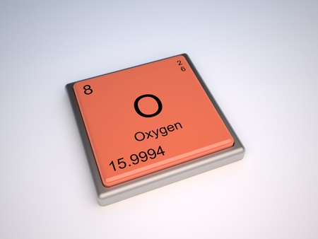 3d atom: Oxygen chemical element of the periodic table with symbol O - IUPAC Stock Photo