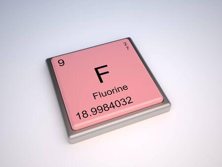 Elemento qu�mico de fl�or de la tabla peri�dica con s�mbolo F - IUPAC Foto de archivo - 9224096
