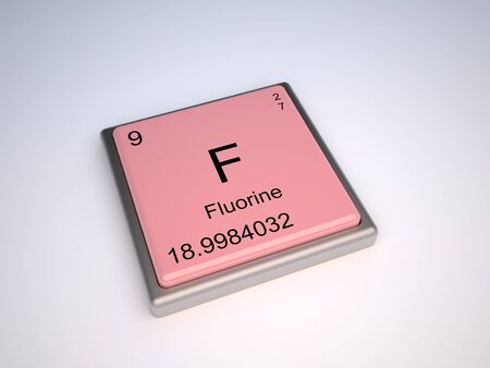 periodic table: Fluorine chemical element of the periodic table with symbol F - IUPAC Stock Photo