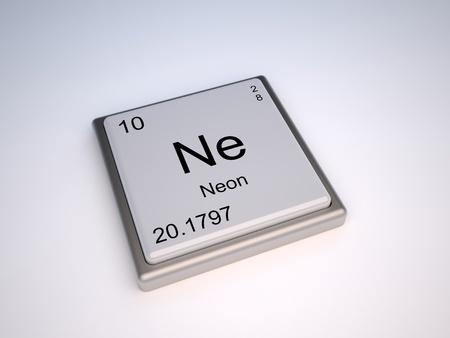 neutrons: 010 Elemento qu�mico de ne�n de la tabla peri�dica con s�mbolo Ne - IUPAC Foto de archivo