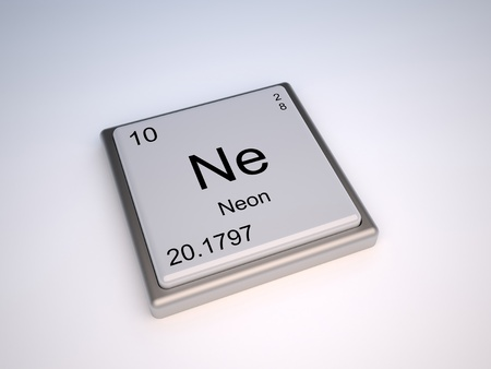 ne: 010 Neon chemical element of the periodic table with symbol Ne - IUPAC