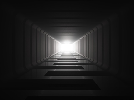 light tunnel: The light at the end of the tunnel Stock Photo