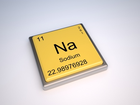 the periodic table: Sodium chemical element of the periodic table with symbol Na Stock Photo