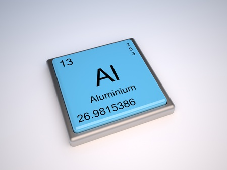 the periodic table: Aluminium chemical element of the periodic table with symbol Al Stock Photo