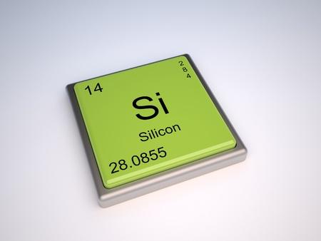 componentes: Elemento qu�mico de silicio de la tabla peri�dica con s�mbolo Si