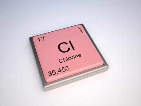 protons: Elemento qu�mico de cloro de la tabla peri�dica con s�mbolo Cl Foto de archivo