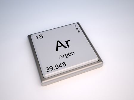 ar: Argon chemical element of the periodic table with symbol Ar Stock Photo