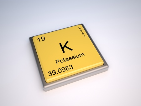 protons: Potassium chemical element of the periodic table with symbol K